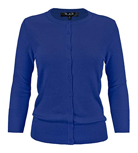 (YEMAK Women's 3/4 Sleeve Crewneck Button Down Knit Cardigan Sweater CO079-RBL-S Royal Blue)