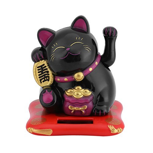 Jadeshay Waving cat Chinese Waving cat Cat Good Luck Solar Powered Winke cat for Desk Home Accessories Decoration (Color : ()