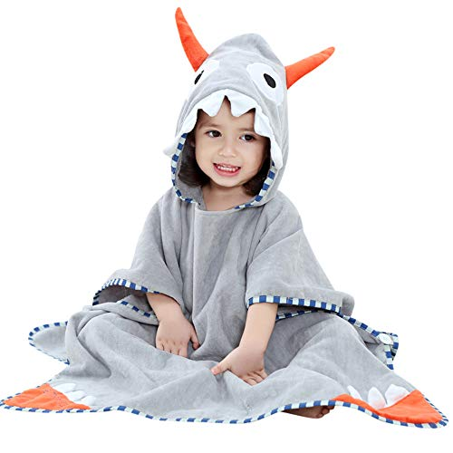 Price comparison product image Toddler Baby Boys Girls Shark Wearable Blanket Towel Bathrobe Animals Sleepwear Kids Nightgowns Nightwear (Gray)