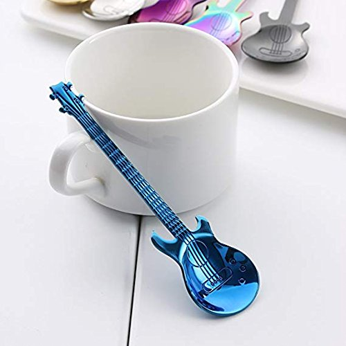 LONGLISHENG 4 Piece Demitasse Spoons Mini Dessert Spoon 4.5 Inch Stainless Steel Colorful Guitar Tea Spoon Cute Kitchen Utensil for Coffee
