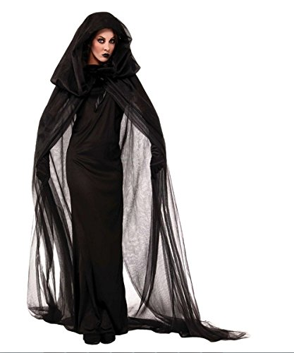 NBVIC Women Black Witch Halloween Costume for Adults 2PC Cloak Hooded Dress]()