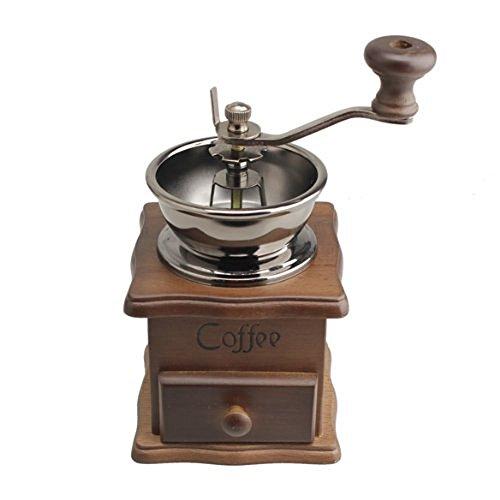 Vanki Mini Manual Coffee Mill Wood Stand Metal Bowl Antique Hand Coffee Bean Grinder by vanki (Image #1)