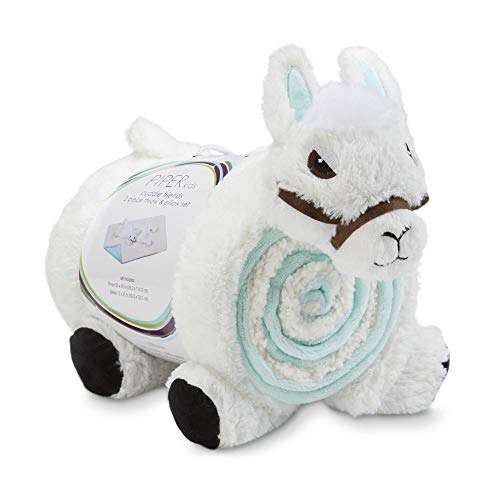 Lama Pillow and Throw Blanket Baby Shower Present 2 Piece Gift Idea Piper Kids Cuddle Friends, Infant, Toddler Nap Fleece Pillow & Blanket Set for Boys and Girls