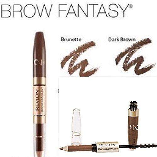 3 Piece-Revlon Brow Fantasy,Pencil and Gel, 105 Brunette, (Uncarded) (Revlon Brow Fantasy Pencil & Gel Brunette 105)