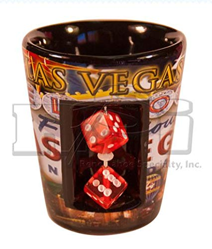 Las Vegas Strip Shot Glass - With Dice: Flag (#8920444) (1) Casino Las Vegas Glass