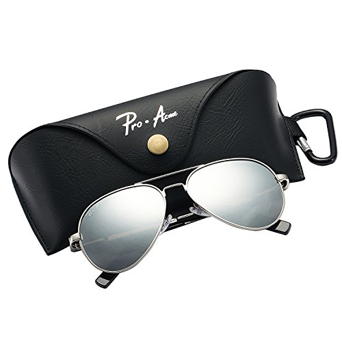 Pro Acme Small Polarized Aviator Sunglasses for Kids and Youth Age 5-18 (Silver Frame/Silver Mirrored Lens) ()