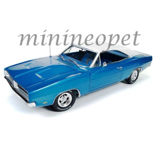 Autoworld AMM1100 1:18 1969 Dodge Charger Blue Hemmings Muscle Machines (Charger Dodge 18 Scale Diecast)