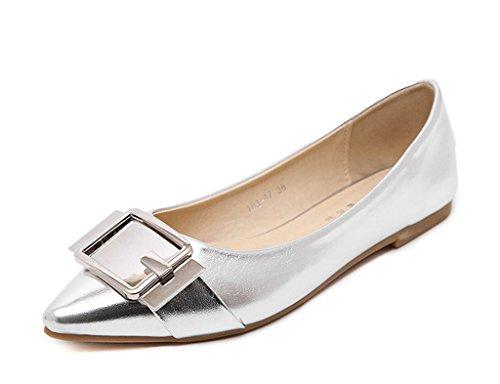 Minetom Mujer Primavera Metálico Lustre Bailarina Puntera Pointed Cerrada Plegable Zapatos Piso Ballet Flats Zapatos Planas Plateado