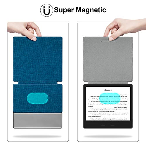 Thinnest and Lightest Strong Adsorption and Durable Soft Fabric Cover with Auto Wake//Sleep,Blue Ayotu Fabric Case for All-New 7 Kindle Oasis 10th Gen, 2019 Release/& 9th Gen, 2017 Release