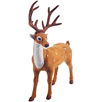 Tinksky Christmas Deer Elk Props Plush Simulation Kitchen Living Room Bedroom Party Home Decoration Christmas Birthday Gift for friends 11.8 Inch