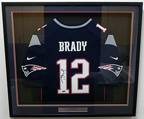 New England Patriots Tom Brady Autographed Framed Blue Nike Jersey TriStar Holo