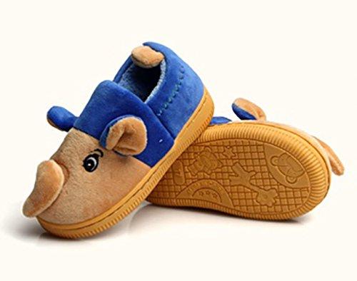 SK Studio Niños Zapatillas de Estar en Casa Animales Elefante Pantuflas Invierno Antideslizantes Peluche Zapatos Marrón Azul