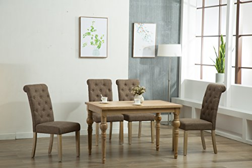 Oliver Smith - Roosevelt Collection - 5 Piece Dining - Table and 4 Chairs - Dinette Table Linen Chairs Set Antique Washed Oak ()