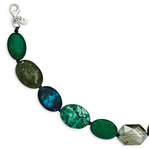 925 Sterling Silver Jade Crystal Jasper Serpentine 1 Inch Extension Bracelet 7 Gemstone Fine Jewelry Gifts For Women For Her