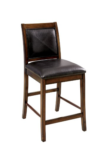 Furniture of America Tressa Padded Leatherette Counter Height Chair, Tobacco Oak Finish, Set of 2 For Sale