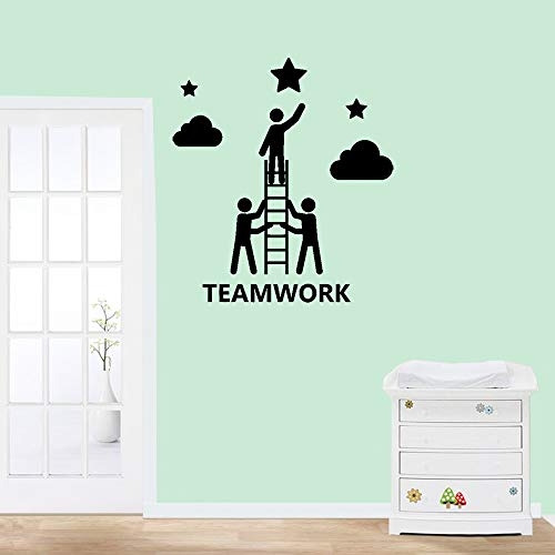 Taervy DIY Removable Vinyl Decal Mural Letter Wall Sticker Cartoon People Teamwork Stars and Clouds for Office Inspiration -
