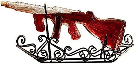 Arma del rifle del whisky Decanter vasos, decorado, 100% Soplado sin plomo Jarra de cristal aireador de vino - hará un regalo del vino Niza, aireador de vino o vino Accesorios - Mantiene 750ml - compl