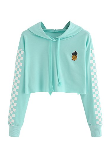 Blue Embroidered Hooded Sweatshirt - MakeMeChic Women's Pineapple Embroidered Hoodie Plaid Crop Top Sweatshirt Blue L