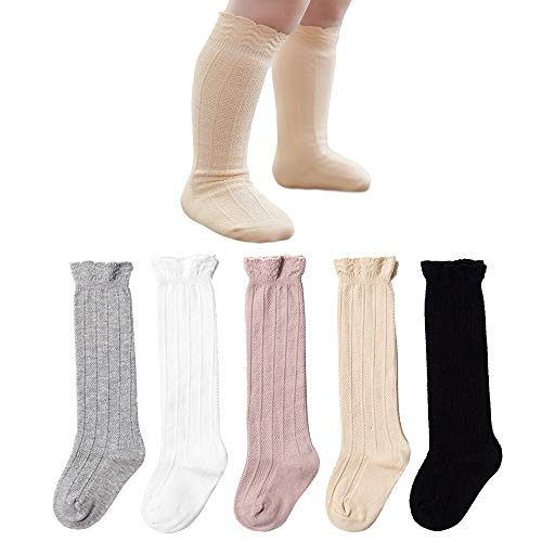 - CozyWay Baby Girls Knee High Socks 5 Pack Tube Ruffled Stockings Infants Toddlers