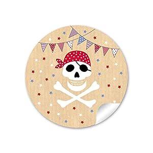 Pegatina de regalo de pirata con calavera (arco A4), con ...