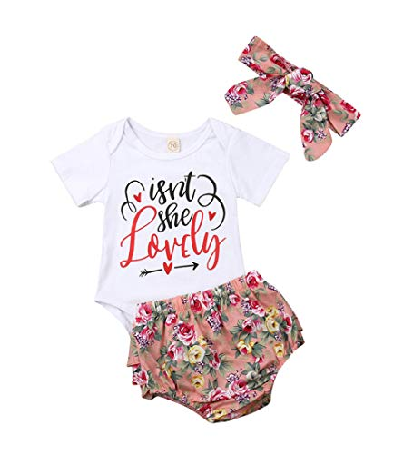 (Isnt She Lovely 0-18M Infant Newborn Baby Girl Short Sleeve Cotton Bodysuit Tops Floral Pant Headband (12-18 Months, Style 10))