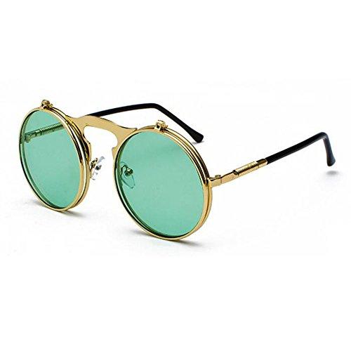 gafas Verde de Steampunk UV400 Metal de Retro protección lente Flip Frame redondo de Classic marco sol Oro fwEnA4q