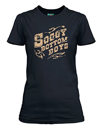 BathroomWall O Brother Where Art Thou Inspired Soggy Bottom Boys, Women's T-Shirt, Large, Navy Blue