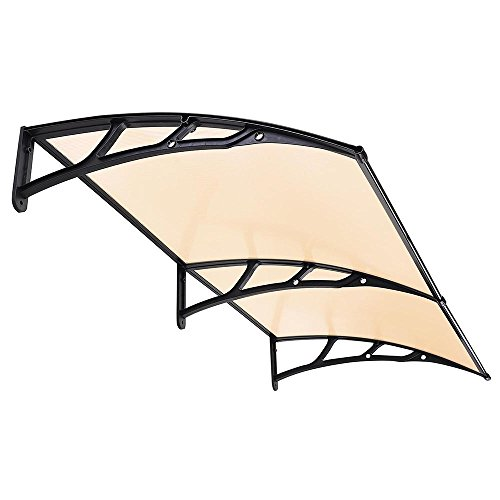 New Black Strip ( Brown Clear Sheet) 80''x40'' Door Window Outdoor Awning Polycarbonate Patio Sun Shade Cover Canopy