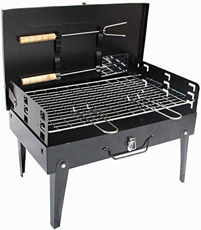 LEILEI Portable Barbecue Charcoal Grill Pliable Charcoal BBQ Grill Set,avec Fonction de Stockage détachable,utilisé dans Le Jardin,Le Camping