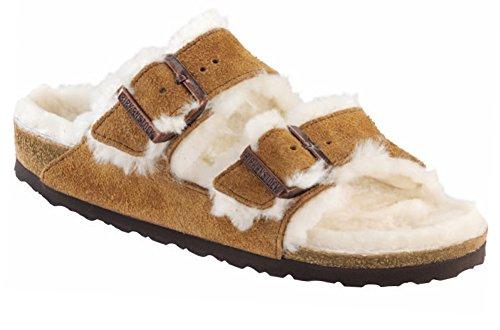 Birkenstock Unisex Arizona Shearling Sandal, Mink/Natural Suede, 38 N EU by Birkenstock
