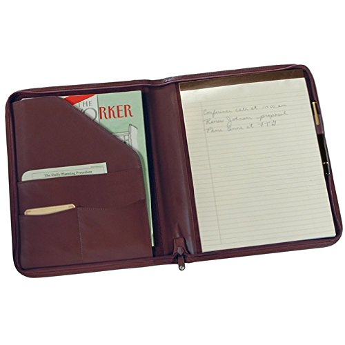 Royce Leather Zip Around Writing Padfolio (Burgundy) by Royce Leather