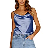 2019 Sexy Womens Summer Vest Solid Color Adjustable Cross Casual Basic Strappy Solid Tank Tops Blouses (Navy, XL)
