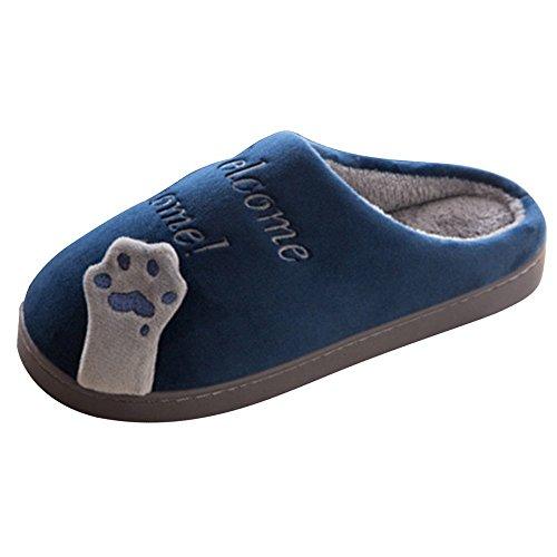 Shoes Hommes Chaussons Coton Slipper Peluche Chaud A Printemps House Chat Bleu Chic Femmes Minetom AUHx6w6