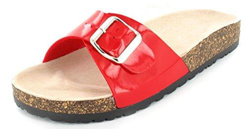 Womens Rosso Ladies On Sandali Flip Summer Flops Comfort Slip Cork Mule Flat dwqPgwp