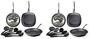 Graniterock 4-Piece Kitchen Set - Pans and Silicon Spatula, Non-stick, No-warp, PFOA-Free As Seen On TV