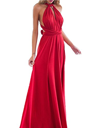 Multi Wear Long Dress - GAMISS Women's Fashion Evening Dress Multi Way Wrap Convertible Halter Maxi Long Dress Plus Size-Red-S