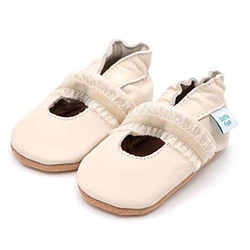 Weiche Baby und Kleinkind Lederschuhe - Dotty Fish - Mädchen-Designs perfekt für Taufen - Neugeborenen bis 18-24 Monate Crèmefarbene Taufschuhe