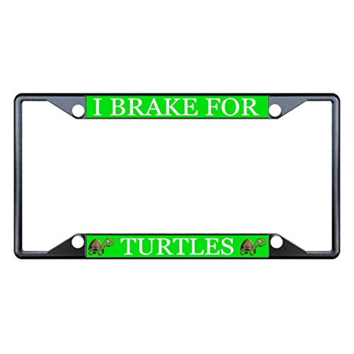 Moon Turtles Animal Black License Plate Frame Tag Holder Four Holes Perfect for Men Women Car garadge Decor -