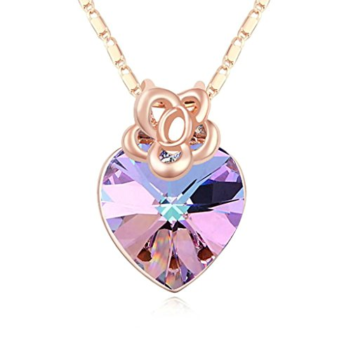 Daesar Gold Plated Women's Flower Heart Synthetic Crystal Necklace CZ Zirconia Necklace