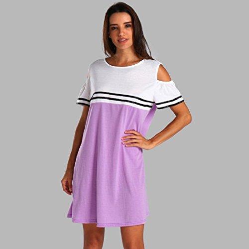 PAOLIAN Kleider, Frauen Schulterfrei Kurzarm Minikleid Abendkleid Beiläufig Übergröße Tunika Kleider T Shirt Kleid Lila