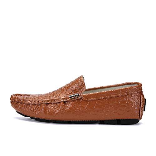 Men's Casual Luxury 2019 Crocodile Leather Italian Loafers Men Moccasins Slip on Boat Plus Size,Brown,11