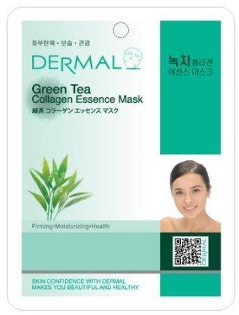 Dermal Korea Collagen Essence Facial Mask Sheet - Green Tea (10 Pack)