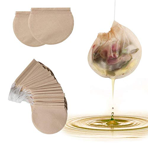Tea Filter Bags, 300 Pieces/Pack Disposable Strong Penetration Natural Unbleached Wood pulp Paper Safe Drawstring Tea Bags for Loose Leaf Herbs Teas and Coffee (Round)