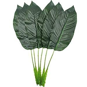 Tropical Leaves 6PCS Artificial Plant Leaves Greenery Plants Elegant Bird of Paradise Leaves Banana Fronds Fake Tropical Imitation Leaf Fake Plants Tropical Artificial Palm Leaves Party Decor Dark Gr 4