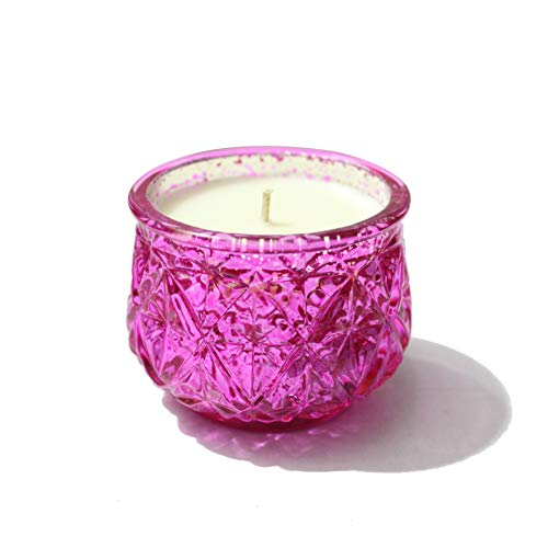 Diamond Oil Candle - Lonovel Scented Candles Natural Soy Wax Candles,Small Daisy Essential Oil Aromatherapy Candle,Diamonds Carving Jar Candle,12 Ounce,Spa,Home,Wedding Decorate Candle, (Carmine)