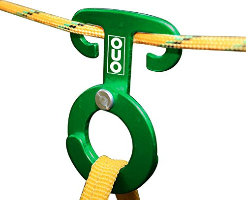 T-Ring Hooks (TM), Paracord Tension Camp Hooks, 2-Pack, by Outdoor Use Only (TM) (green)
