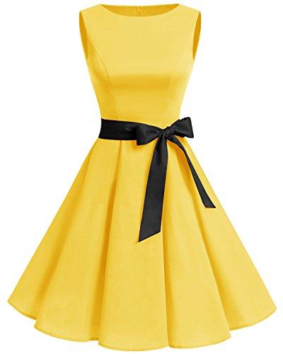 Gardenwed Women's Vintage 1950s Spring Garden Party Picnic Dress Sleeveless Retro Cocktail Dress Yellow L