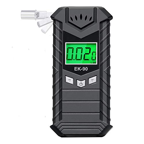 JASTEK Breathalyzer Rechargeable Breath Alcohol Tester High-Accuracy Digital Alcohol Breathalyzer LCD Screen with 10 Mouthpieces - Dark Gray (Ru G)
