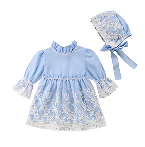 (Kid Baby Girls Long Sleeve Lace Formal Party Wedding Princess Flower Girl Dress with Bonnet (0-1 Years) Light Blue)