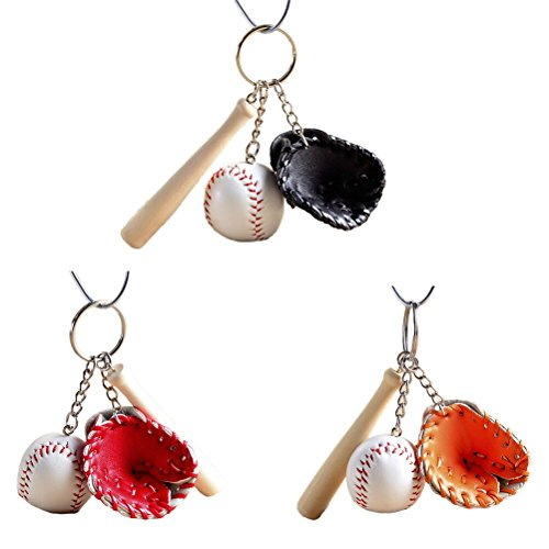 Color Split Pu Leather - 3Pcs Cute Mini Baseball Ball & Tennis Racket Keychain Key Ring PU Leather Wood Baseball Ball Split Keyring Perfect Gift Idea, 3 Colors